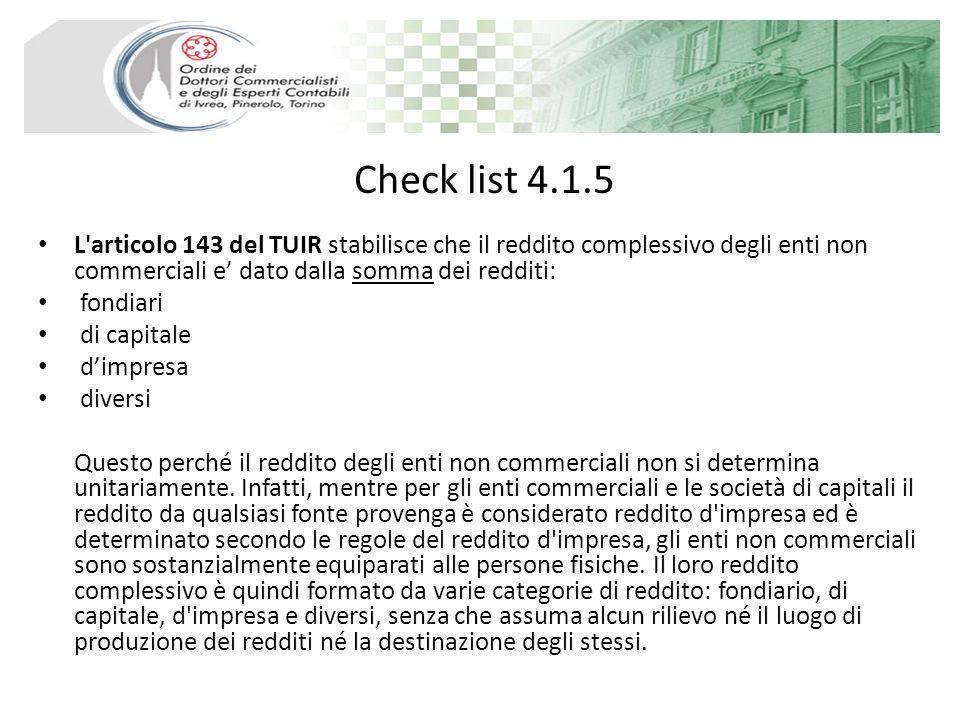 Check list 4.1.5 L articolo 143 del TUIR stabilisce che il reddito complessivo degli enti non commerciali e dato dalla somma dei redditi: fondiari di capitale dimpresa diversi Questo perché il reddito degli enti non commerciali non si determina unitariamente.