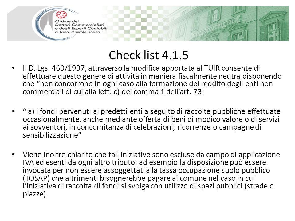 Check list 4.1.5 Il D. Lgs.