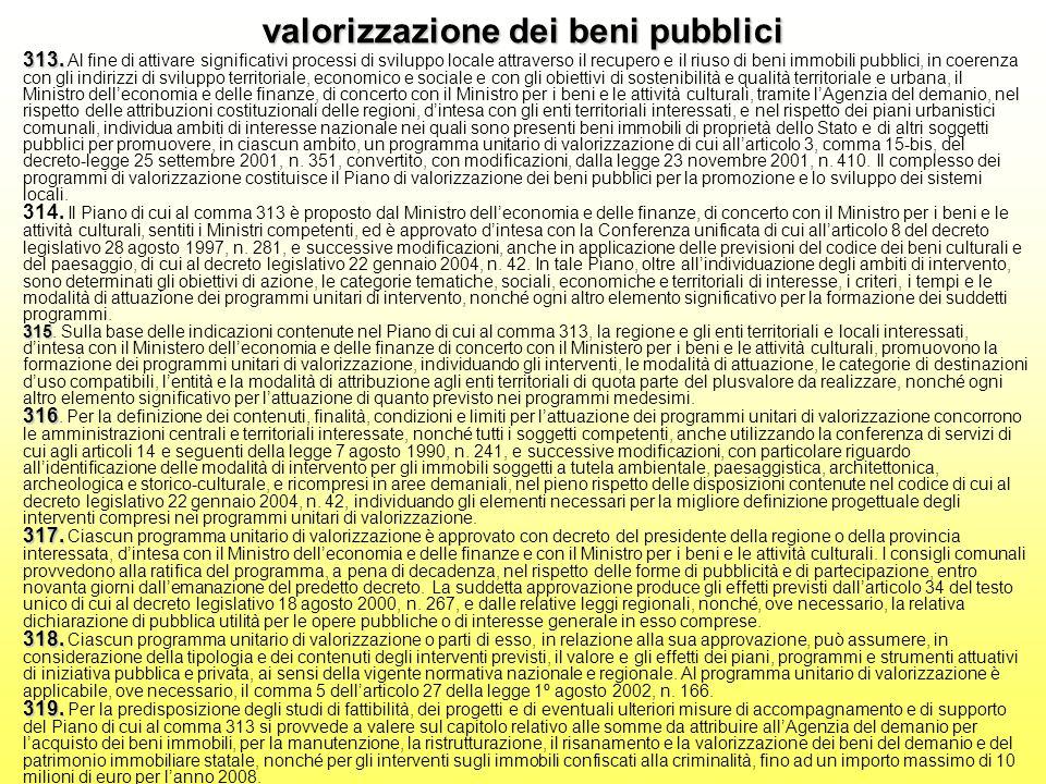 valorizzazione dei beni pubblici 313. 315 316 317.