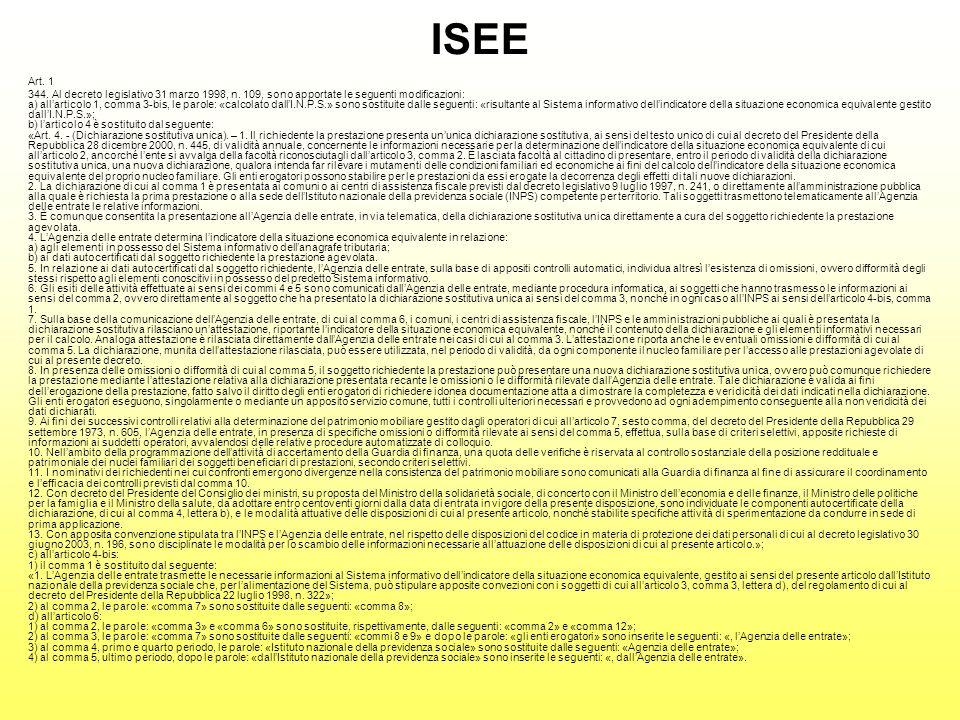 ISEE Art. 1 344. Al decreto legislativo 31 marzo 1998, n.