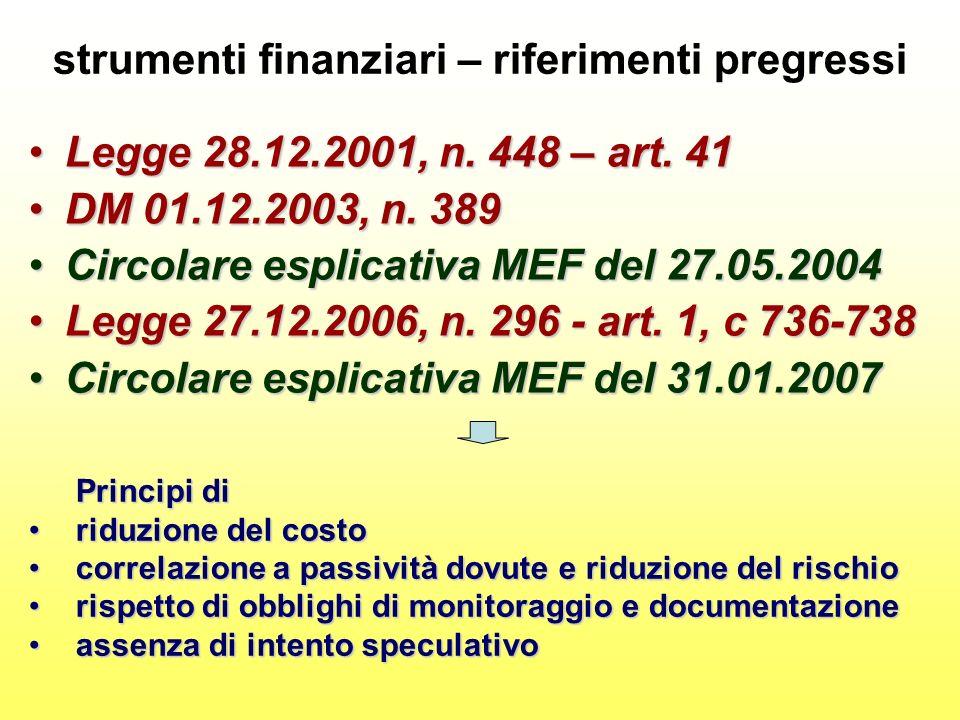 strumenti finanziari – riferimenti pregressi Legge 28.12.2001, n.