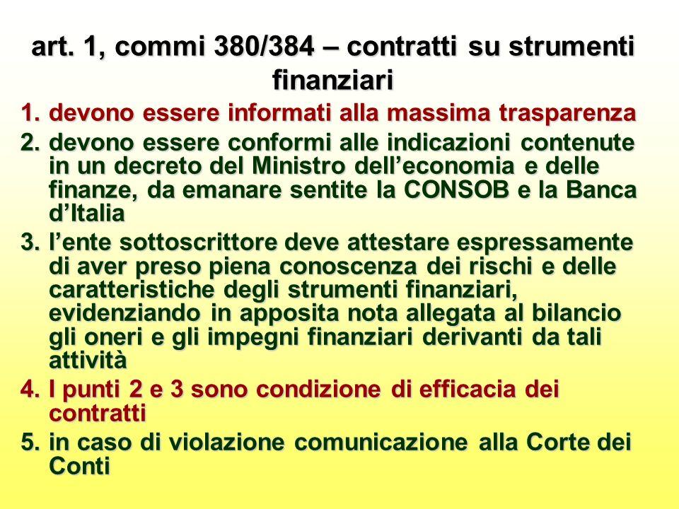 art. 1, commi 380/384 – contratti su strumenti finanziari 1.devono essere informati alla massima trasparenza 2.devono essere conformi alle indicazioni