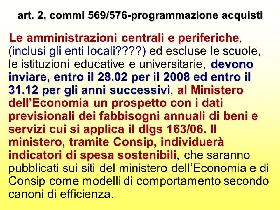 art. 2, commi 569/576-programmazione acquisti Le amministrazioni centrali e periferiche devono inviare, entro il 28.02 per il 2008 ed entro il 31.12 p