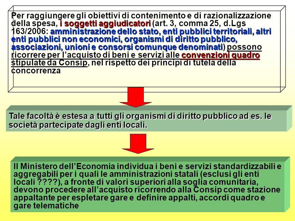 Per raggiungere gli obiettivi di contenimento e di razionalizzazione della spesa, i soggetti aggiudicatori (art.