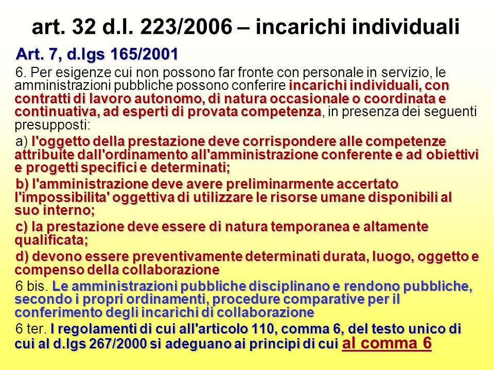 art. 32 d.l. 223/2006 – incarichi individuali Art.