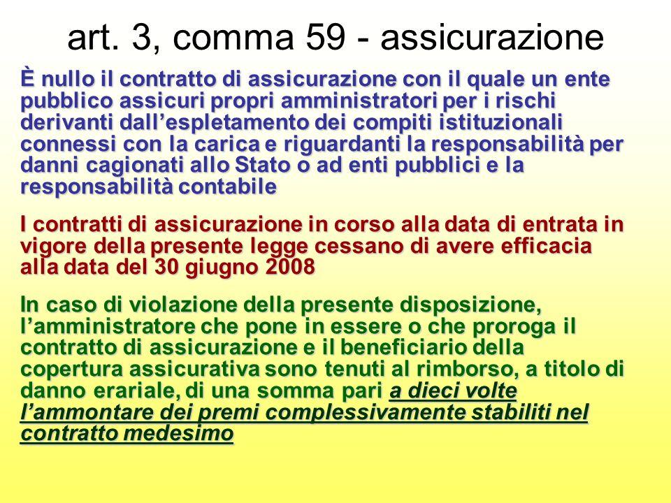 art. 3, comma 59 - assicurazione È nullo il contratto di assicurazione con il quale un ente pubblico assicuri propri amministratori per i rischi deriv