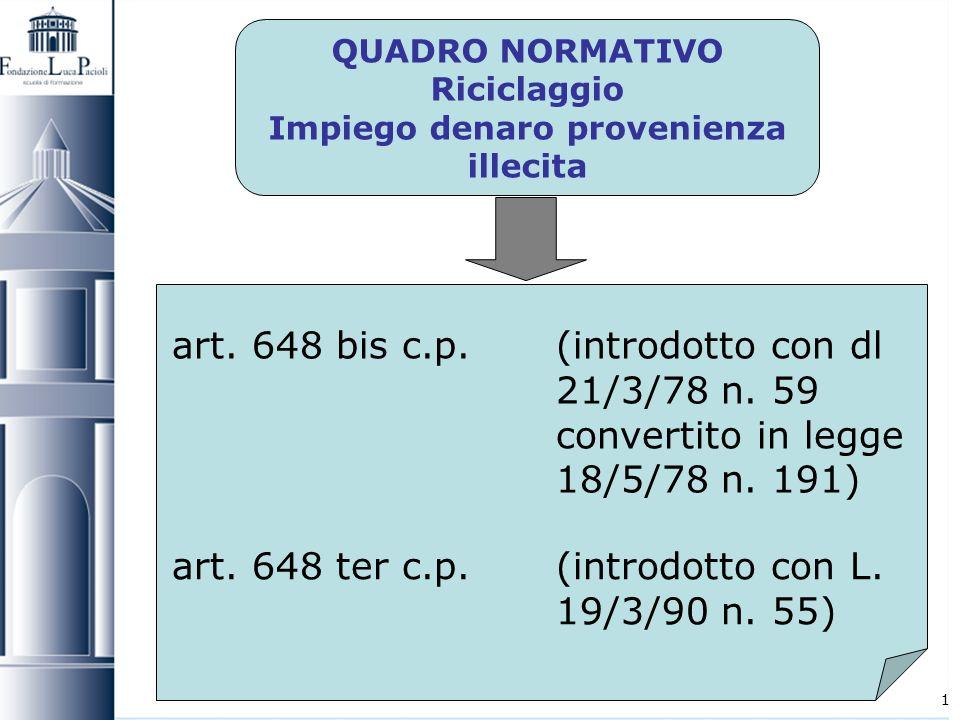 1 QUADRO NORMATIVO Riciclaggio Impiego denaro provenienza illecita art. 648 bis c.p.(introdotto con dl 21/3/78 n. 59 convertito in legge 18/5/78 n. 19