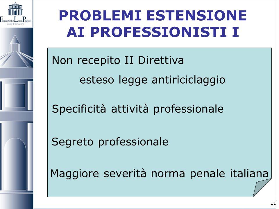 11 PROBLEMI ESTENSIONE AI PROFESSIONISTI I Non recepito II Direttiva esteso legge antiriciclaggio Specificità attività professionale Segreto professio