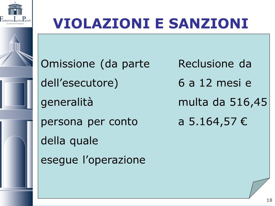 18 VIOLAZIONI E SANZIONI Omissione (da parte Reclusione da dellesecutore) 6 a 12 mesi e generalità multa da 516,45 persona per conto a 5.164,57 della