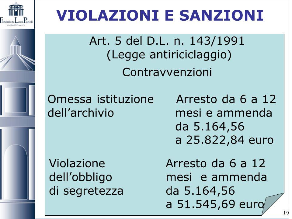 19 VIOLAZIONI E SANZIONI Art. 5 del D.L. n. 143/1991 (Legge antiriciclaggio) Contravvenzioni Omessa istituzione Arresto da 6 a 12 dellarchivio mesi e