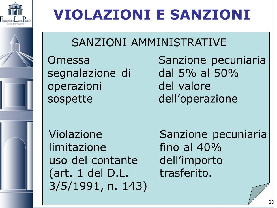 20 VIOLAZIONI E SANZIONI Violazione Sanzione pecuniaria limitazione fino al 40% uso del contante dellimporto (art. 1 del D.L. trasferito. 3/5/1991, n.