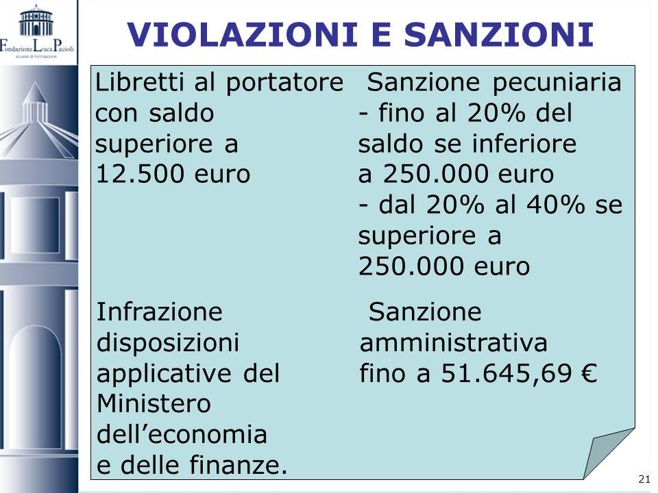21 VIOLAZIONI E SANZIONI Libretti al portatore Sanzione pecuniaria con saldo - fino al 20% del superiore asaldo se inferiore 12.500 euro a 250.000 eur