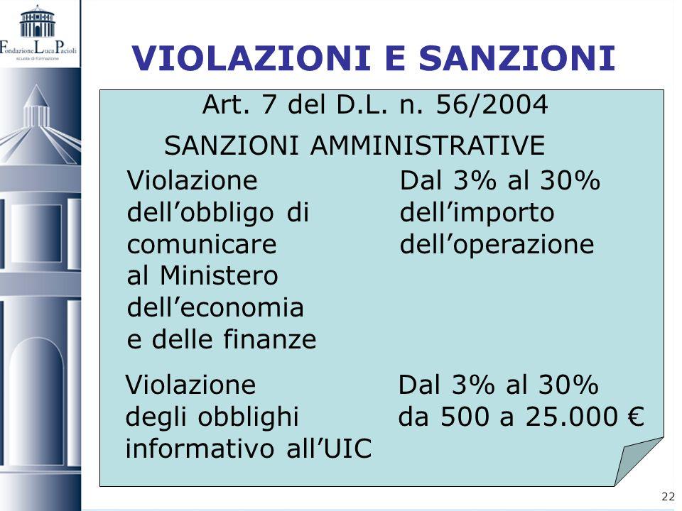 22 VIOLAZIONI E SANZIONI Art. 7 del D.L. n. 56/2004 SANZIONI AMMINISTRATIVE Violazione Dal 3% al 30% dellobbligo di dellimporto comunicare delloperazi