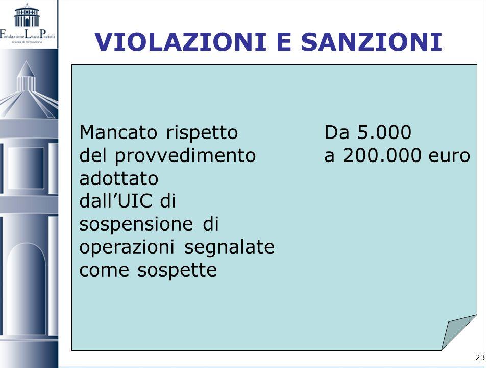 23 VIOLAZIONI E SANZIONI Mancato rispetto Da 5.000 del provvedimento a 200.000 euro adottato dallUIC di sospensione di operazioni segnalate come sospe