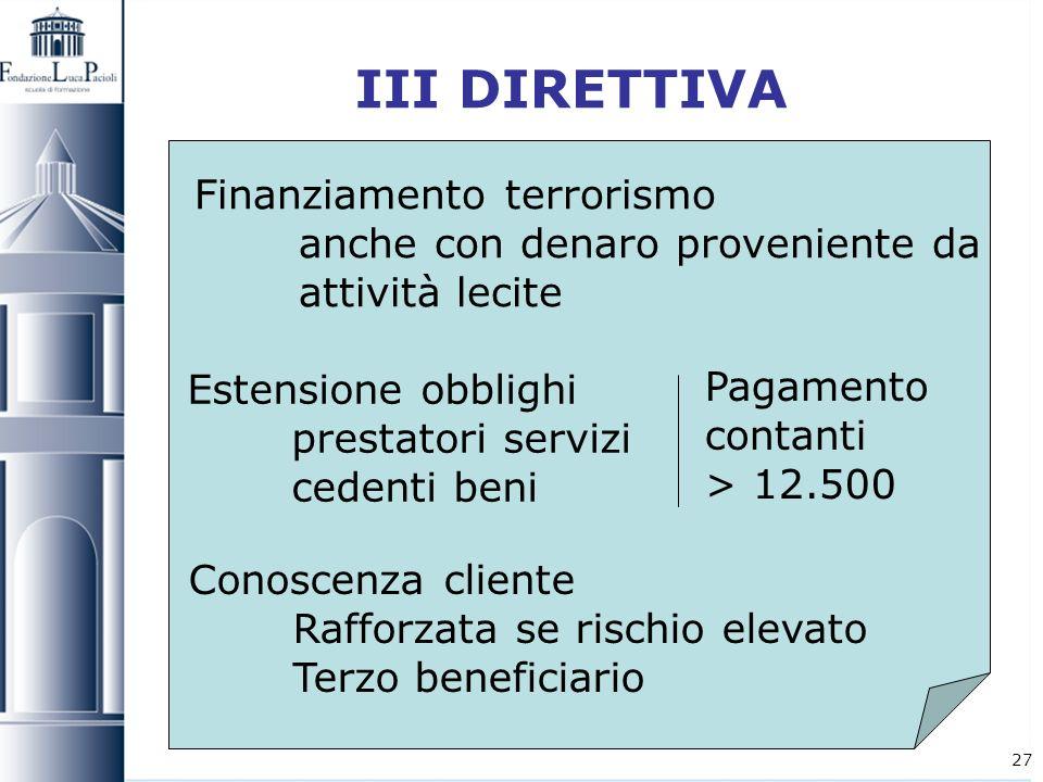 27 III DIRETTIVA Finanziamento terrorismo anche con denaro proveniente da attività lecite Conoscenza cliente Rafforzata se rischio elevato Terzo benef