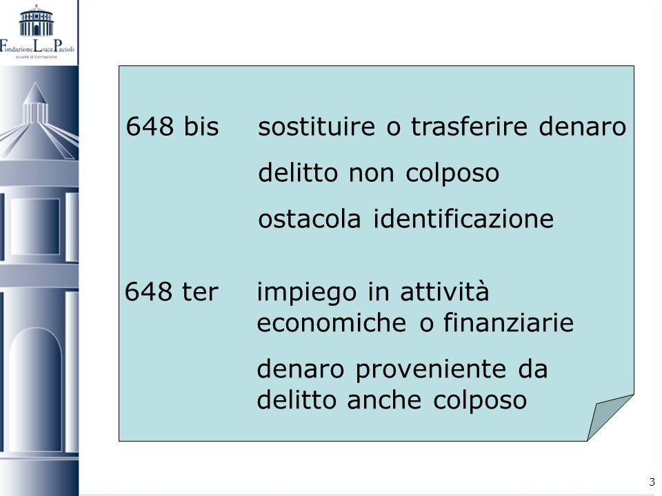 3 648 bissostituire o trasferire denaro delitto non colposo ostacola identificazione 648 terimpiego in attività economiche o finanziarie denaro proven
