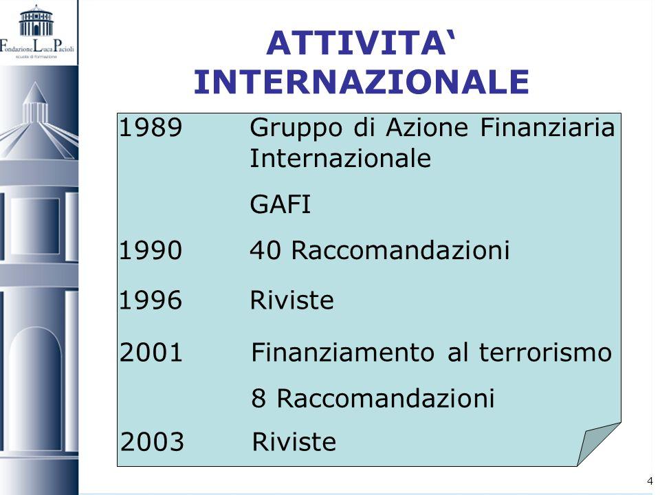 4 ATTIVITA INTERNAZIONALE 1989Gruppo di Azione Finanziaria Internazionale GAFI 1990 40 Raccomandazioni 1996 Riviste 2001Finanziamento al terrorismo 8