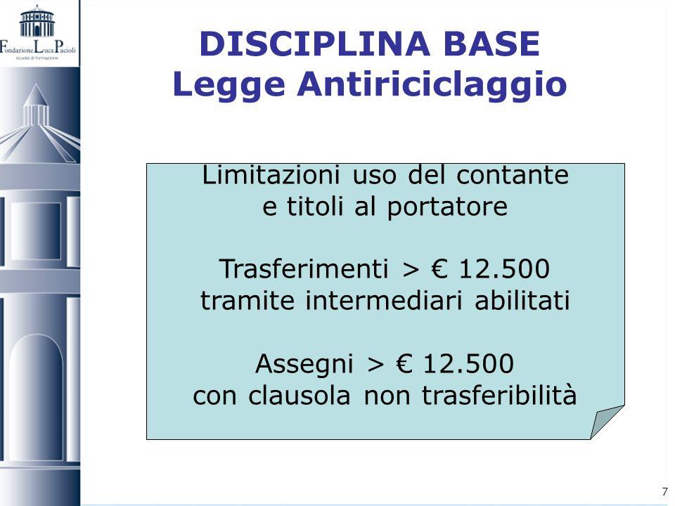 7 DISCIPLINA BASE Legge Antiriciclaggio Limitazioni uso del contante e titoli al portatore Trasferimenti > 12.500 tramite intermediari abilitati Asseg
