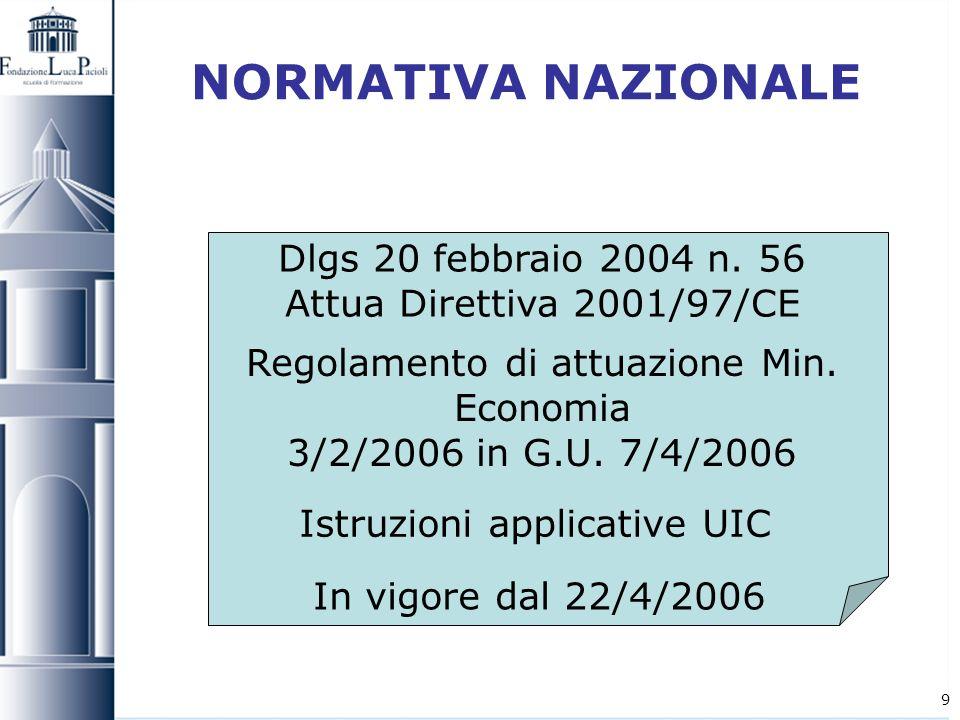 9 NORMATIVA NAZIONALE Dlgs 20 febbraio 2004 n. 56 Attua Direttiva 2001/97/CE Regolamento di attuazione Min. Economia 3/2/2006 in G.U. 7/4/2006 Istruzi