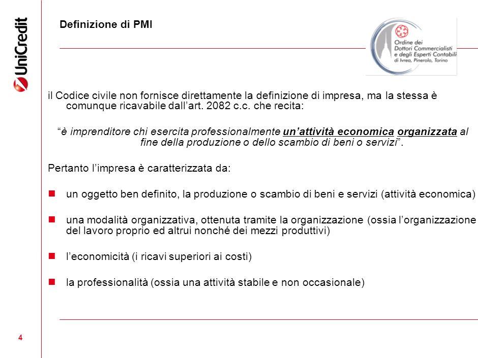 5 Definizione di PMI LItalia è la nazione comunitaria che impiega nel settore manifatturiero circa 2 milioni e 460mila persone, occupate tra: le 374mila microimprese con meno di 10 addetti; le 50 mila che hanno tra i 10 e i 19 addetti; le oltre 24mila che hanno tra i 20 e i 49 addetti.