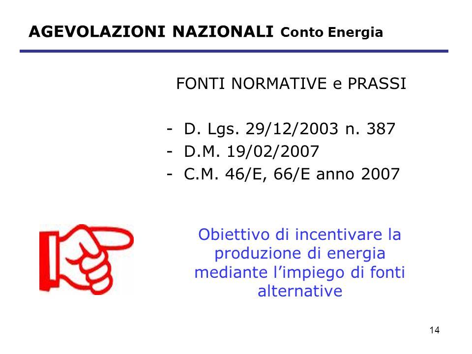 15 AGEVOLAZIONI NAZIONALI Conto Energia TARIFFA INCENTIVANTE Potenza nominale dellimpianto P (kw) Impianti art.