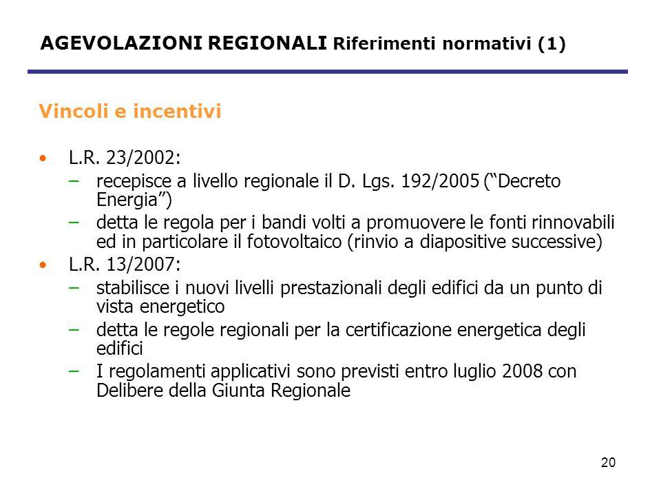 21 AGEVOLAZIONI REGIONALI Riferimenti normativi (2) Piano di stralcio per il riscaldamento ambientale, approvato con D.G.R.
