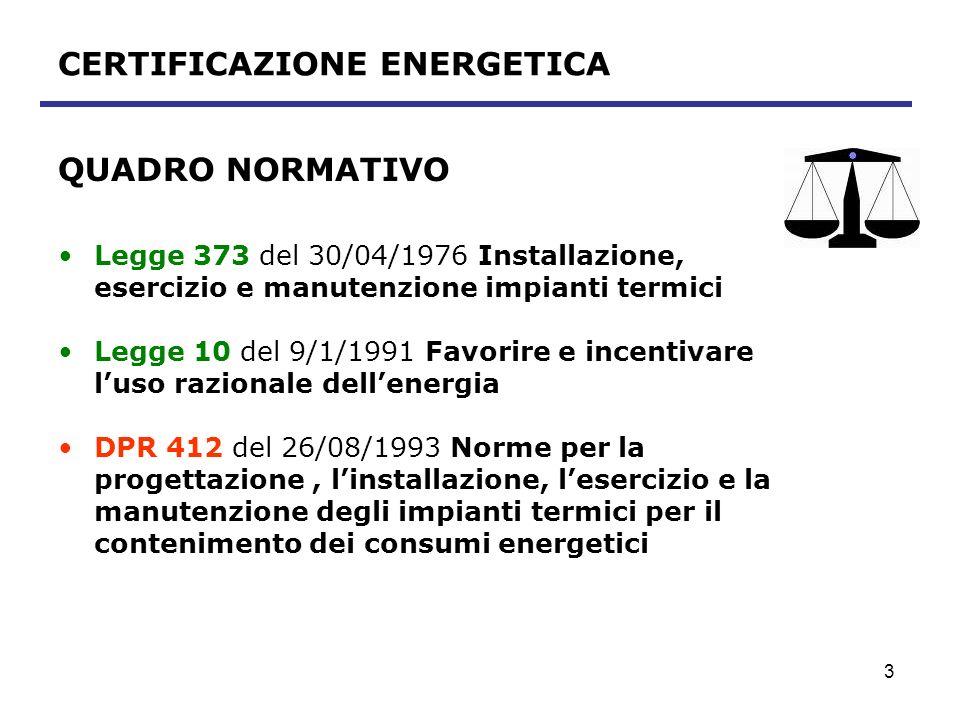 4 CERTIFICAZIONE ENERGETICA QUADRO NORMATIVO (segue) Direttiva 2002/91/CE del 16/12/2002 Rendimento energetico nelledilizia UE Legge 306 del 31/10/2003 Delega al recepimento della Direttiva comunitaria