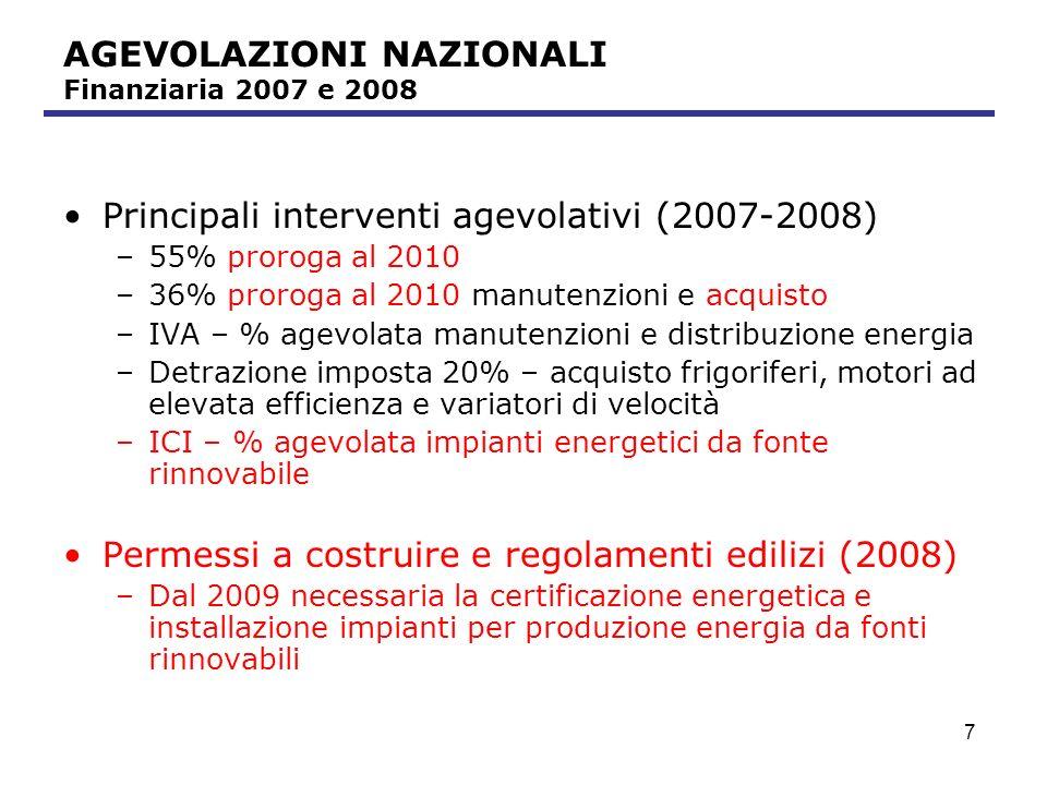 8 AGEVOLAZIONI NAZIONALI – 55% Agevolazione già prevista nella Finanziaria 2007 INTERVENTO Spesa massima Requisiti Spese per riqualificazione energetica degli edifici.