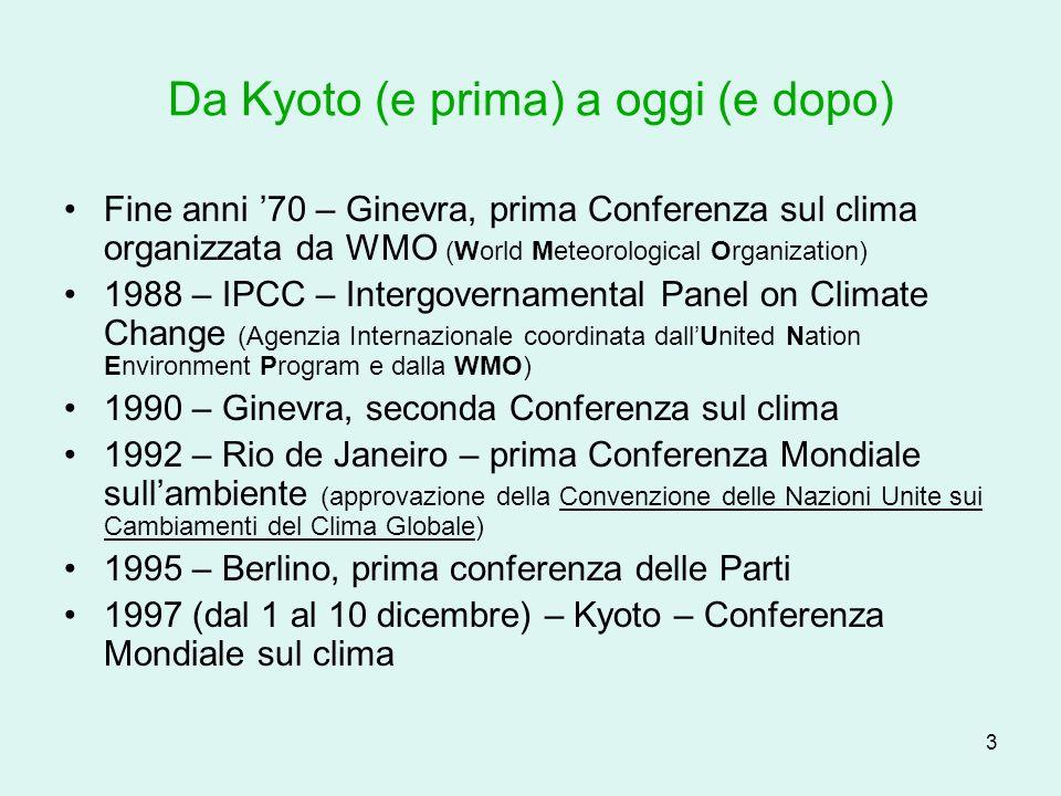 4 Da Kyoto (e prima) a oggi (e dopo) Kyoto – tesi a confronto A.valori al 2012 minori di quelli al 1990 (UE) B.valori al 2012 uguali a quelli del 1990 (USA) C.indisponibili a riduzioni (Cina, India, ecc.)