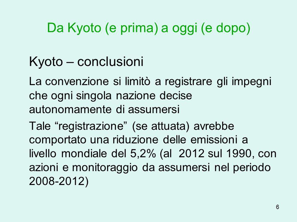 7 Da Kyoto (e prima) a oggi (e dopo) Kyoto – Italia, Europa, Mondo LItalia si impegna per una riduzione del 6,7% (autotrasporto 28%), la Germania del 25%, lEuropea (media) del 8%.