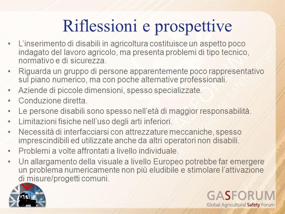 Linserimento di disabili in agricoltura costituisce un aspetto poco indagato del lavoro agricolo, ma presenta problemi di tipo tecnico, normativo e di sicurezza.