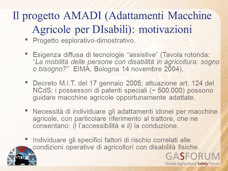 Il progetto AMADI (Adattamenti Macchine Agricole per DIsabili): motivazioni Progetto esplorativo-dimostrativo.