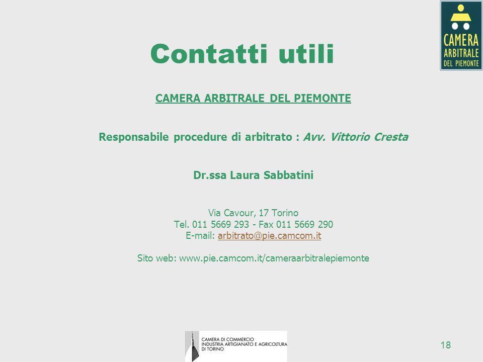 18 Contatti utili CAMERA ARBITRALE DEL PIEMONTE Responsabile procedure di arbitrato : Avv. Vittorio Cresta Dr.ssa Laura Sabbatini Via Cavour, 17 Torin