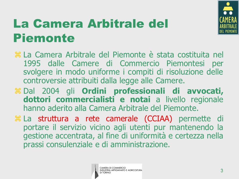 3 La Camera Arbitrale del Piemonte zLa Camera Arbitrale del Piemonte è stata costituita nel 1995 dalle Camere di Commercio Piemontesi per svolgere in