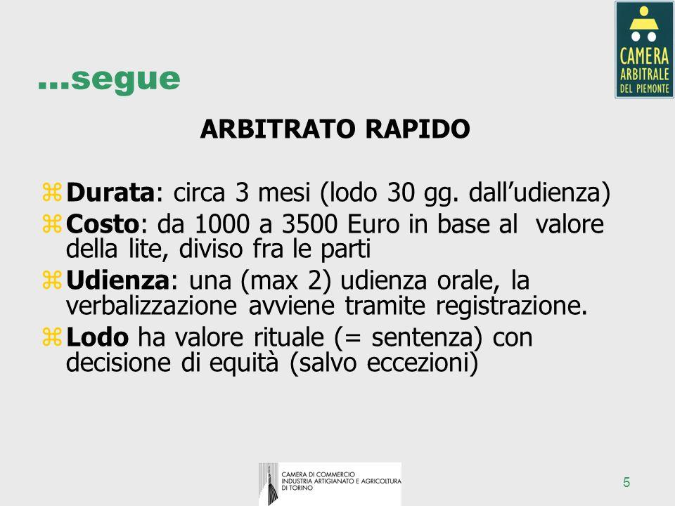 5 …segue ARBITRATO RAPIDO zDurata: circa 3 mesi (lodo 30 gg. dalludienza) zCosto: da 1000 a 3500 Euro in base al valore della lite, diviso fra le part