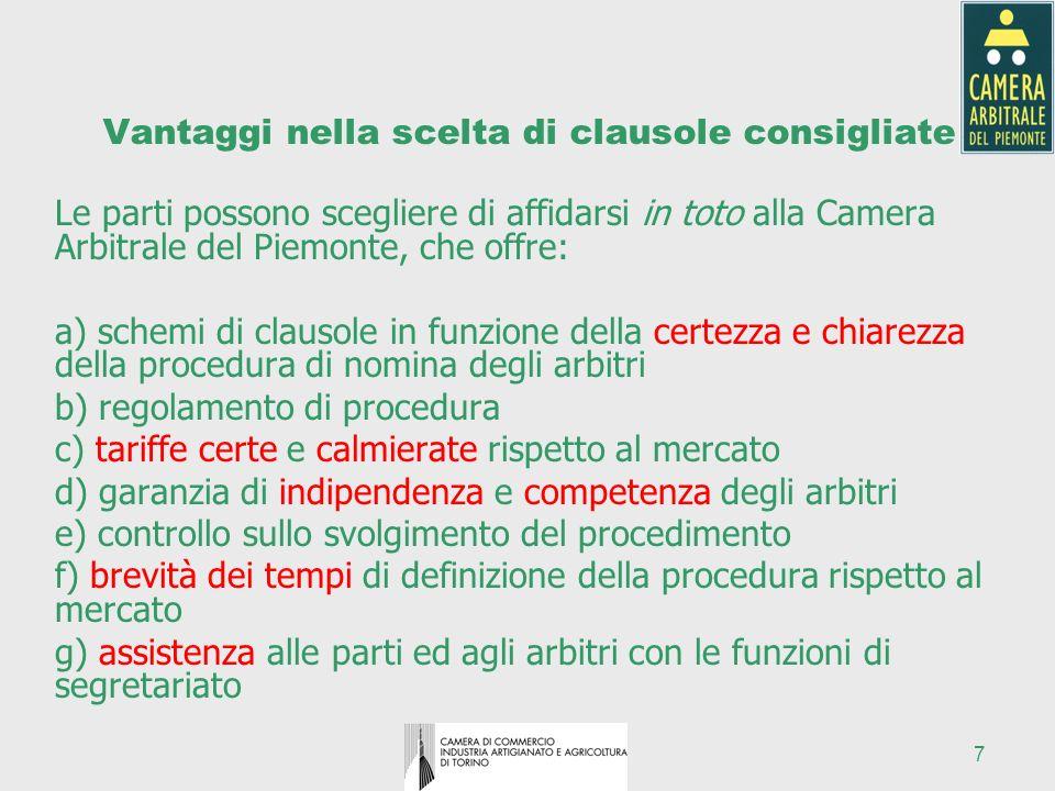 7 Vantaggi nella scelta di clausole consigliate Le parti possono scegliere di affidarsi in toto alla Camera Arbitrale del Piemonte, che offre: a) sche