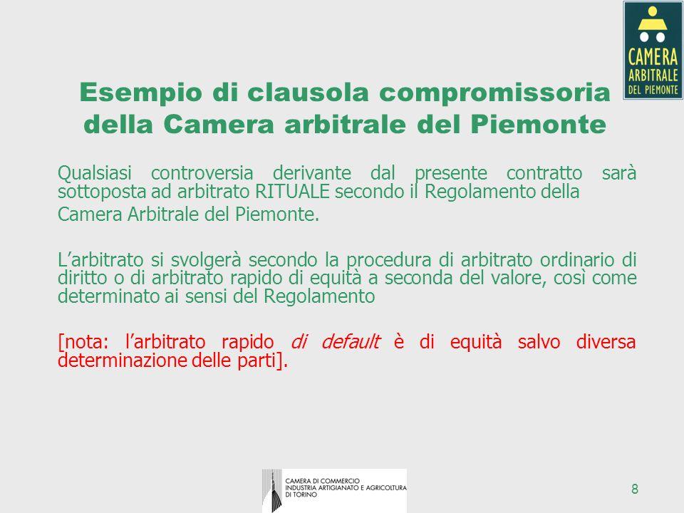 8 Esempio di clausola compromissoria della Camera arbitrale del Piemonte Qualsiasi controversia derivante dal presente contratto sarà sottoposta ad ar