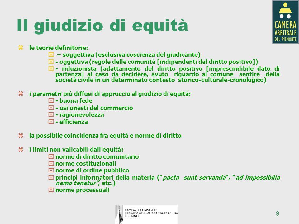 9 Il giudizio di equità zle teorie definitorie: x – soggettiva (esclusiva coscienza del giudicante) x- oggettiva (regole delle comunità [indipendenti