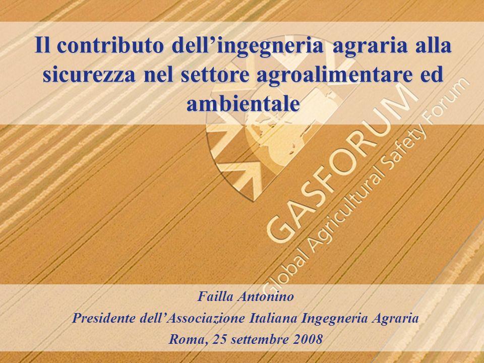 Il contributo dellingegneria agraria alla sicurezza nel settore agroalimentare ed ambientale Failla Antonino Presidente dellAssociazione Italiana Inge