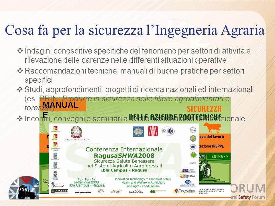 Cosa fa per la sicurezza lIngegneria Agraria Indagini conoscitive specifiche del fenomeno per settori di attività e rilevazione delle carenze nelle di