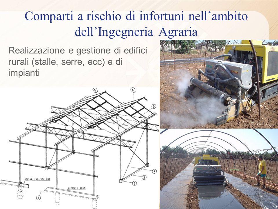 Realizzazione e gestione di edifici rurali (stalle, serre, ecc) e di impianti Comparti a rischio di infortuni nellambito dellIngegneria Agraria