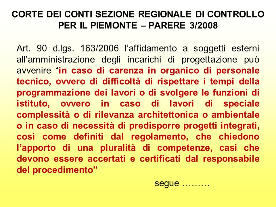 CORTE DEI CONTI SEZIONE REGIONALE DI CONTROLLO PER IL PIEMONTE – PARERE 3/2008 Art. 90 d.lgs. 163/2006 laffidamento a soggetti esterni allamministrazi