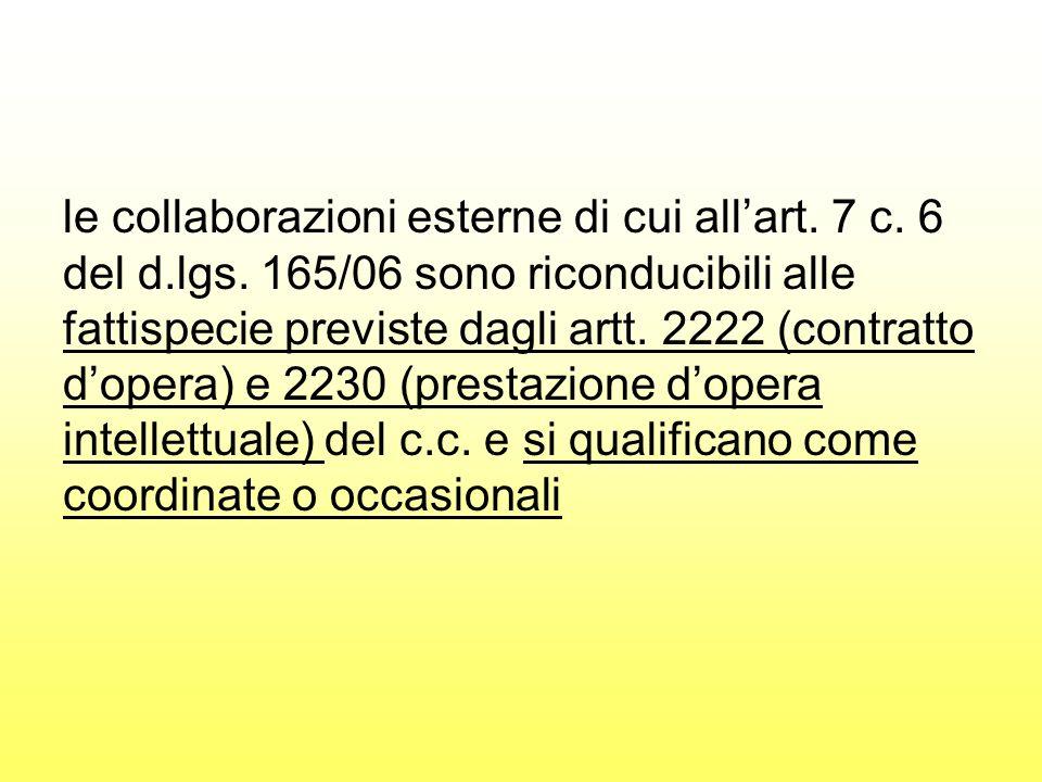 le collaborazioni esterne di cui allart. 7 c. 6 del d.lgs. 165/06 sono riconducibili alle fattispecie previste dagli artt. 2222 (contratto dopera) e 2