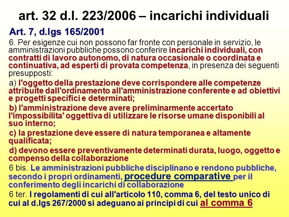 art. 32 d.l. 223/2006 – incarichi individuali Art. 7, d.lgs 165/2001 incarichi individuali, con contratti di lavoro autonomo, di natura occasionale o