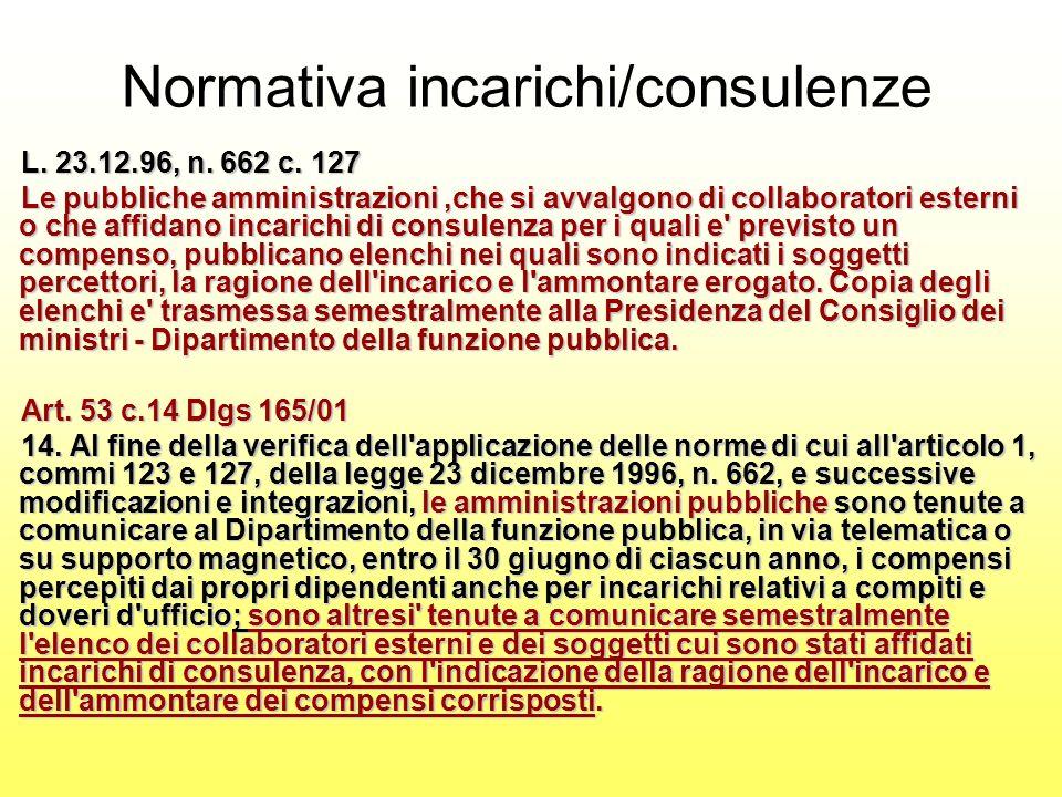 L. 23.12.96, n. 662c. 127 L. 23.12.96, n. 662 c. 127 Le pubbliche amministrazioni,che si avvalgono di collaboratori esterni o che affidano incarichi d