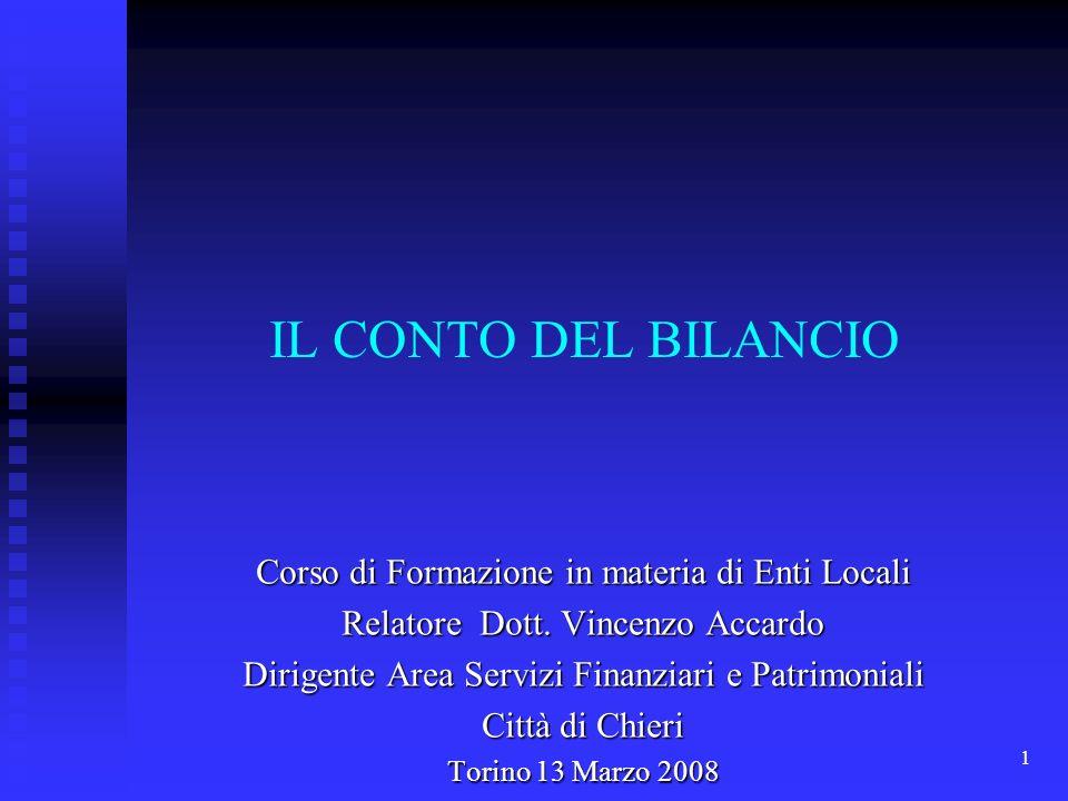 1 IL CONTO DEL BILANCIO Corso di Formazione in materia di Enti Locali Relatore Dott.