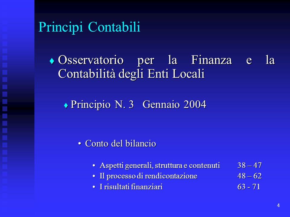 4 Principi Contabili Osservatorio per la Finanza e la Contabilità degli Enti Locali Osservatorio per la Finanza e la Contabilità degli Enti Locali Principio N.