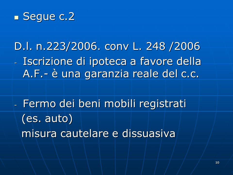 10 Segue c.2 Segue c.2 D.l. n.223/2006. conv L. 248 /2006 - Iscrizione di ipoteca a favore della A.F.- è una garanzia reale del c.c. - Fermo dei beni