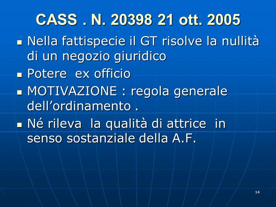 14 CASS. N. 20398 21 ott. 2005 Nella fattispecie il GT risolve la nullità di un negozio giuridico Nella fattispecie il GT risolve la nullità di un neg