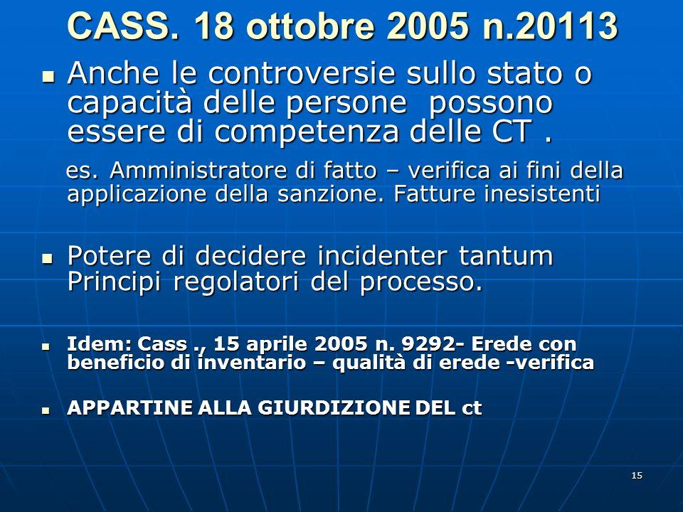 15 CASS. 18 ottobre 2005 n.20113 Anche le controversie sullo stato o capacità delle persone possono essere di competenza delle CT. Anche le controvers